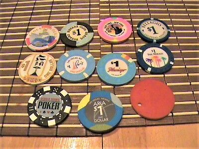 11 Las Vegas casino chips - EACH CHIP IS ONE ITEM