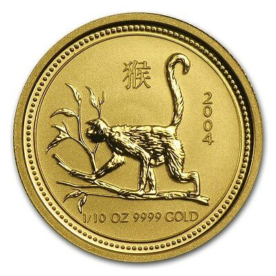 2004 Australian 1/10 oz Lunar Year of The Monkey Gold  Coin Great Gift