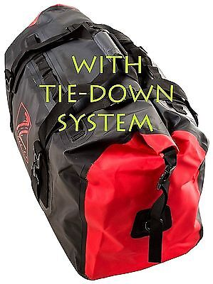 Waterproof Motorcycle Luggage Rolltop Drybag Tailpack 60L Blk/Red w.Mount Straps