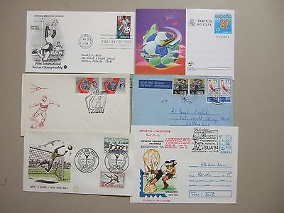 Six SOCCER related covers:fdc,aerogramme,postal stationery