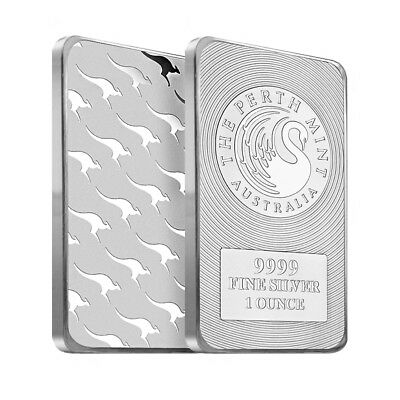 Lot of 2 - 1 oz Australia Perth Mint Silver Kangaroo Bar .9999 Fine