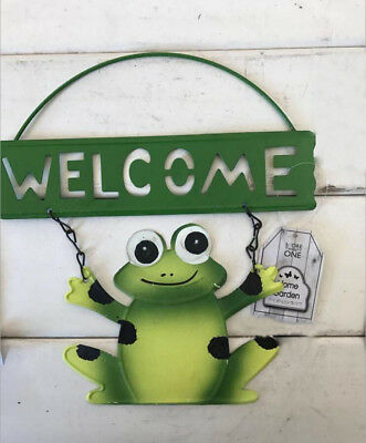 Cast Iron WELCOME Sign with Frog Wall Gate Fence Post Plaque Garden Sign