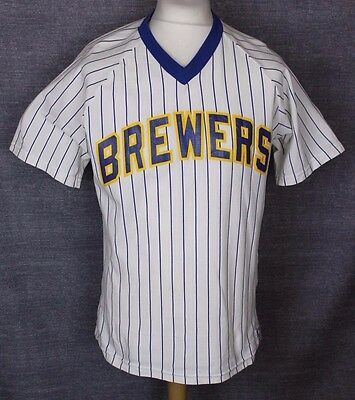 Vintage Milwaukee Brewers Baseball Jersey Shirt Sand-Knit Mens M / L