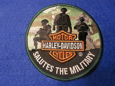 "New! HARLEY DAVIDSON ""SALUTES THE MILITARY"" PATCH - Camouflage Soldier 4"" Patch"