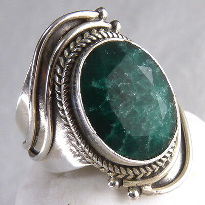 US 6 1/4 ~ Asymmetrical SILVERSARI Gem Ring ~ 925 Sterling Silver/Indian Emerald