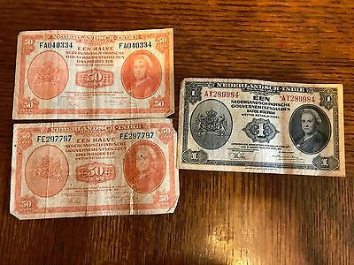 Lot of 3 Nederlandsch-Indie 2 50 Cent Bank Notes and 1 1 Bank Note