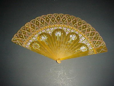 Vintage Celluloid Fan Hand Painted Flowers