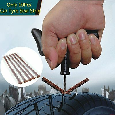 10Pcs Kit Car Tubeless Seal Strip Tool Plug Puncture Recovery Van Tyre Repair