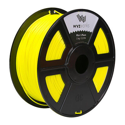 WYZwork 3D Printer Premium PLA Filament 1.75mm 1kg/2.2lb - Fluorescent Yellow