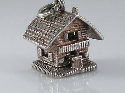 Vintage 3D Nuvo Sterling Silver Swiss Cottage.Opens Man Playing Alpine Horn
