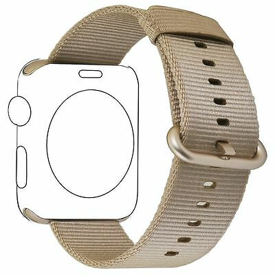 PUGO TOP Apple Watch Band - Woven Nylon Replacement Band - 38mm - Gold