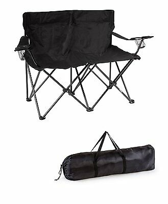 Portable Double Folding Camping Chair Beach Outdoor Loveseat Picnic Couple NEW