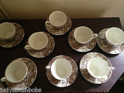 "Job Lot Alfred Meakin Cups And Saucers X8   ""the Post House"""