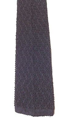 Vintage Pure Silk Knitted Neck Tie Black Crocheted Wide Blade Excellent FREE P&P