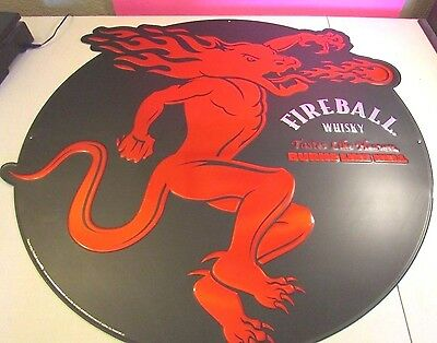 "Fireball Cinnamon Whiskey Metal Tin Embossed Tacker Sign 30"" Diameter AUTHENTIC"