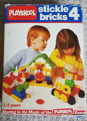 Retro Stickle Bricks Collection 4 - 89 Assorted Colourful Pieces In Box + Extras