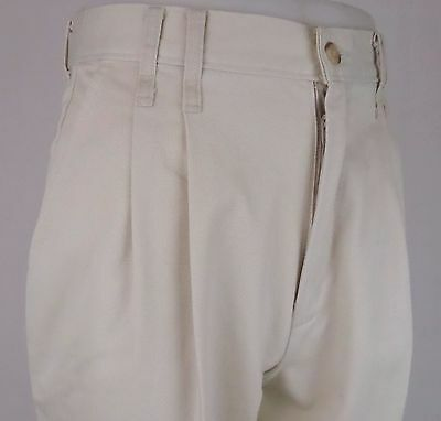Vtg Pleated Peg Turn Ups Preppy Chino High Waist Trousers 80s does 50s  W28 DZ92