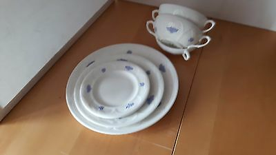 Vintage Royal Adderley Bone China Blue Chelsea Plates Soup Bowls