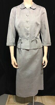 1940s 1950s Roberta Lee Women's Tailored Skirt Suit Wasp Waist 40s 50s