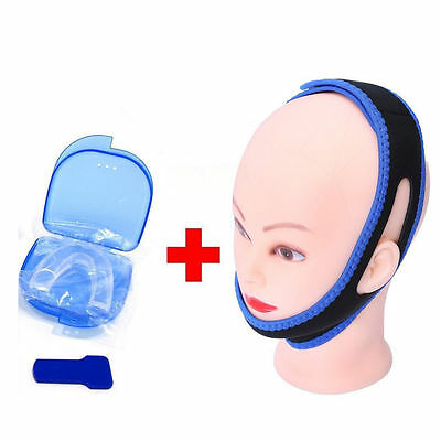 Stop Snoring MouthPiece Sleep Apnea + TMJ Anti Snore Chin Strap Belt Night Guard
