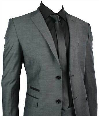 Mens Fitted Suit Charcoal Grey Black Trim Blazer Trouser Smart Office Wedding Pa