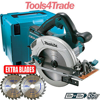 Makita DHS710Z Twin 18v 190mm Circular Saw Body With 2 x Extra Blades & Mak Case