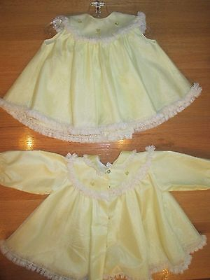 Adorable True Vintage Bryan Sheer Swiss Dot Baby Dress & Coat Set Lace Trim