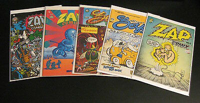 Lot of *6* ZAP COMIX: #0,1,3,4,5  + #8 Key Undergrounds! Crumb! (Mostly VF)