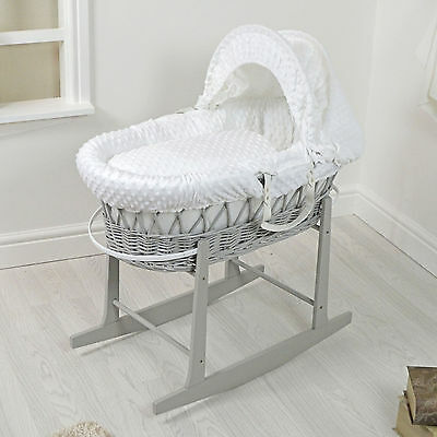 New Quality Baby Grey Wicker / White Dimple Padded Baby Moses Basket Carry Cot