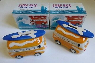 2 x Novelty Ceramic Campervan  Surf Money Box  Bank Boxed Yellow
