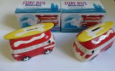 2 x Novelty Ceramic Campervan  Surf Money Box  Bank Boxed Red
