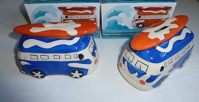 2 x Novelty Ceramic Campervan  Surf Money Box  Bank Boxed Blue