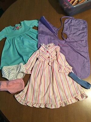 Lot Of American Girl Clothes 2 Dresses Cover Headband 2 Underwear
