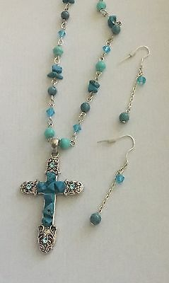 Lovely Silver Genuine Turquoise Bead & Crystal Cross Necklace & Earring Set