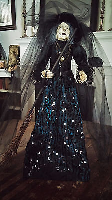 Halloween Witch Doll Bella Lux Black & Blue Gown Decor NEW