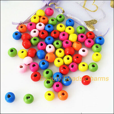 25 New Charms Mixed Wooden Round Smooth Loose Ball Craft Spacer Beads 13mm