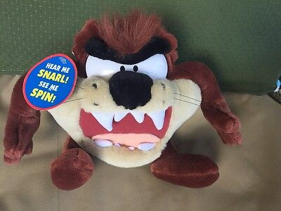 """New With Tag 9"""" Plush Tazmanian Devil Taz Looney Tunes Play by Play 1998"""
