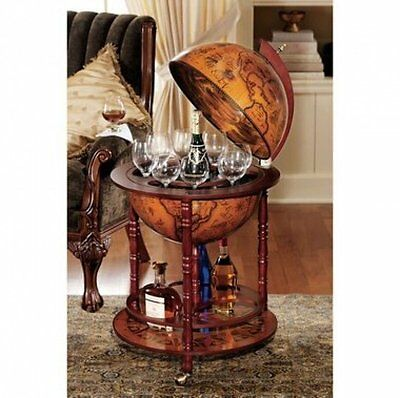 Old Italian Style Globe Mini Bar - Wine, Liquor Cabinet Storage Stand, Map NEW