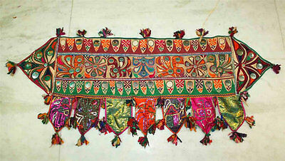 "ANTIQUE 15""x 48"" *SPECIAL* RABARI BANJARA KUCHI EMBROIDERY TORAN DOOR HANGING"