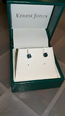 14ct Yellow Gold Blue Diamond Stud Earrings from TJC