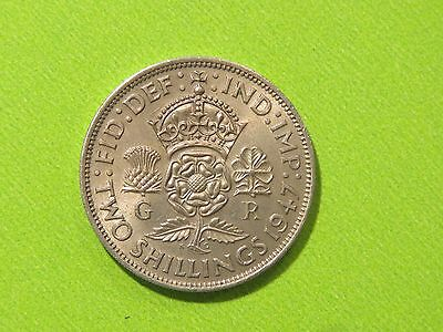 George V1 1947 Two-Shilling/florin Unc + Lustre Rare Coin Fresh From Mint Tube