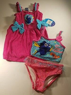 NWT Toddler Girls DISNEY FINDING NEMO 3-Piece Swimcover Tankini Swimsuit Size 2T