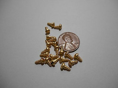 "20 #3 1/4""  SLOTTED BRASS WOOD SCREWS w/ ROUND HEAD FOR ANTIQUE CLOCK REPAIR"