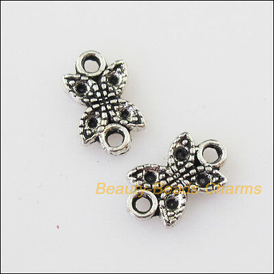 30 New Tiny Flower Connectors Tibetan Silver Tone Charms Pendants 6.5x11mm