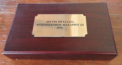 Cyprus 1974 Luxury Case With Capsules For Makarios Silver Set