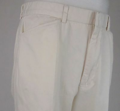 "Vtg Tapered Leg Ralph Lauren ""Polo"" Cotton Preppy White Chino Trousers W34 DZ93"