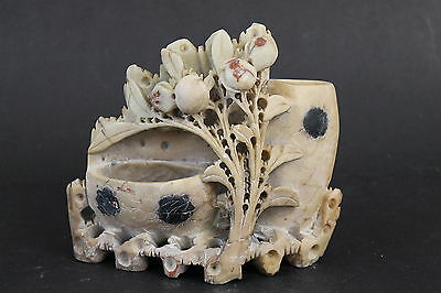 Vintage Chinese Export Carved Soapstone Floral Double Vase