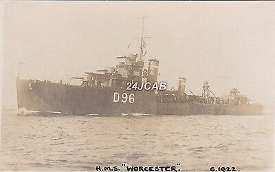 """Royal  Navy Real Photo. HMS """"Worcester""""  'W' class Destroyer.  WW11. c 1922"""