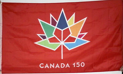 Huge 3x5 High Quality 100% Polyester Canada 150 Anniversary Flag - Free Shipping