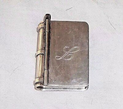 Vintage 925 MEXICO Sterling Silver HINGED BOOK PILL BOX Engraved w Letter L